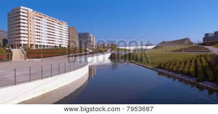 Apartment buildings, park lake