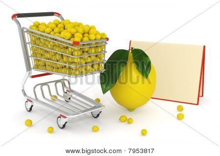 Shopping Cart Full Of Yellow Lemons