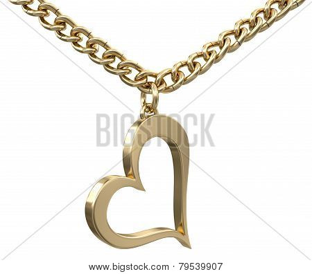 Gold heart on chain (clipping path included)