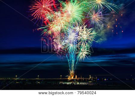 Firework above sea