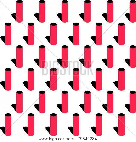 Seamless Cylinder Pattern. Vector Red and Black Background