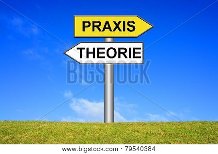Sign showing theory or practice