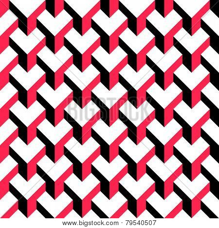 Seamless Cube Pattern. Vector Red and Black Background