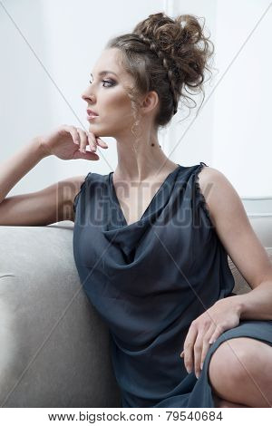 Glamour lady portrait in luxury dress.