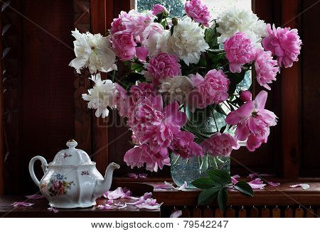 Bouquet Of Peonies And Brewing Teapot