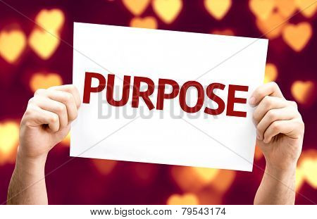 Purpose card with heart bokeh background