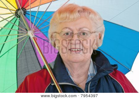 Elderly Woman With Umbrella