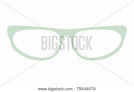 Green cat eyes glasses vector illustration isolated on white background.