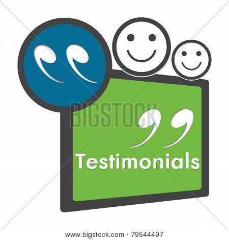 Testimonials Green Blue Circle Square