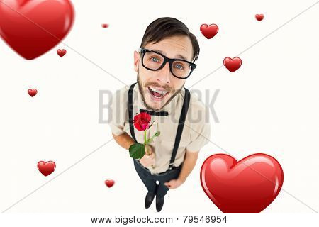 Geeky lovesick hipster holding rose against hearts