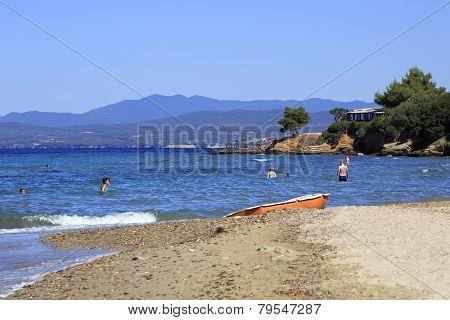 Wild beach on the coast of Sithonia.