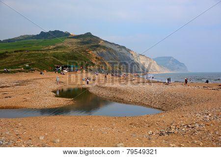 Charmouth beach Dorset England UK with pebbles and shingle