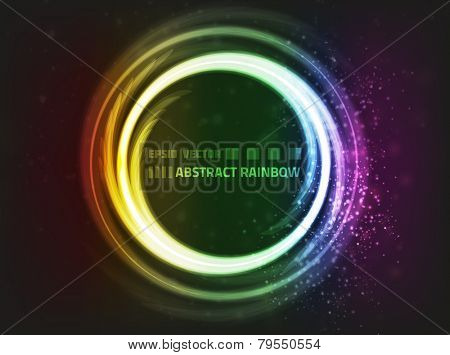 Vector design. Abstract rainbow shape on dark background with bright lights and blurry particles around it.