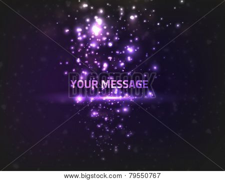 Abstract energy particles on dark background, colored violet. Particles are flowing onto message in the center.