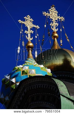 Dome Orthodox Church With Golden Roods
