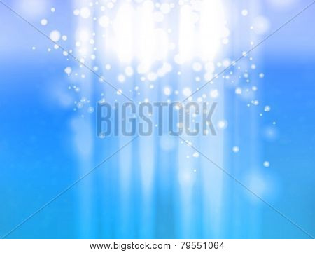 Vector abstract design of light shining from heavens on blue sky background with slight texture.