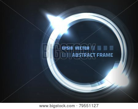 EPS10 vector abstract frame on dark blue background with slight texture. Has bright lights and dim particles.
