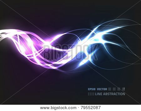 EPS10 vector line abstraction design against dark background; composition is colored in shades of violet and blue