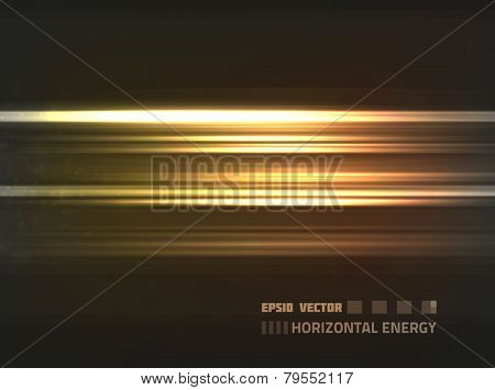 EPS10 vector abstract orange horizontal energy design against dark background; composition is colored in shades of orange and yellow