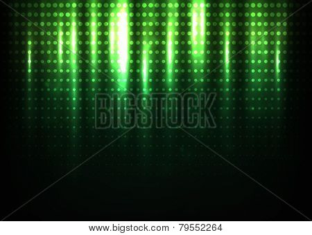 Abstract halftone pattern against dark background, colored in green tones. Has a bright fashionable look