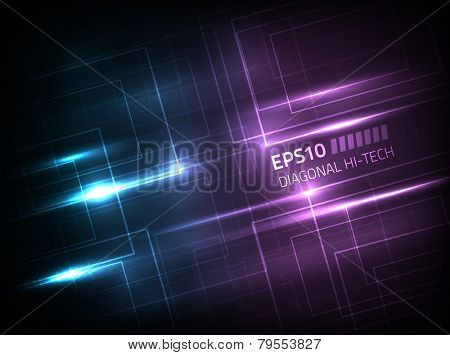 Vector diagonal hi-tech concept against dark background, colored in shades of blue and violet
