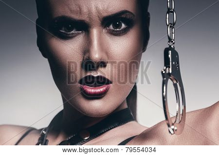 Angry Woman With Handcuffs