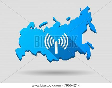 Long Shadow Russia Map Icon With An Antenna