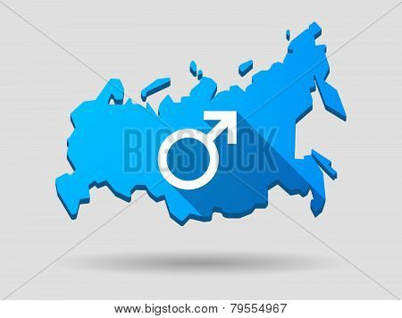 Long Shadow Russia Map Icon With A Male Sign