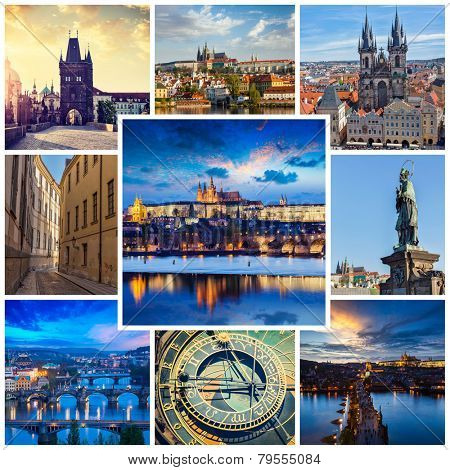 Mosaic collage storyboard of Prague tourist views travel images