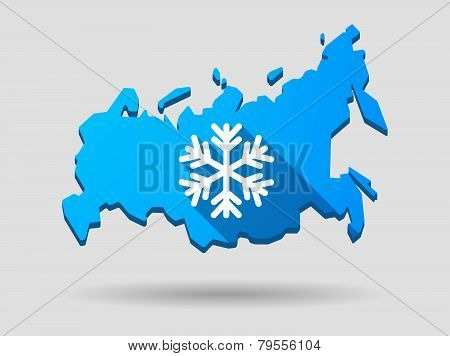 Long Shadow Russia Map Icon With A Snow Flake