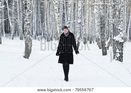 The Woman In A Black Fur Coat Costs In The Birch Wood In The Winter.