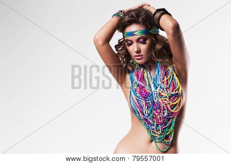Belly Dancer In Colourful Nacklace