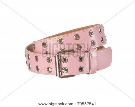 Pink Women's Belt With Holes Isoltated