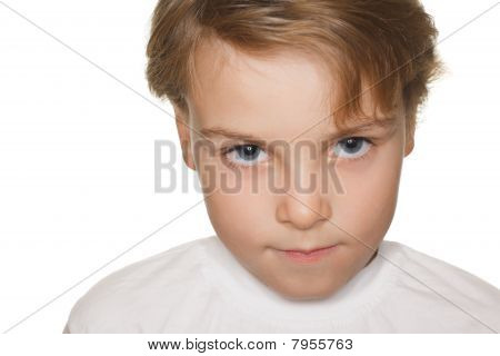 portrait small child in a white t-shirt photography studio