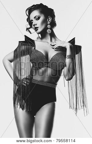 Monochrome Woman With Black Bra In Panties