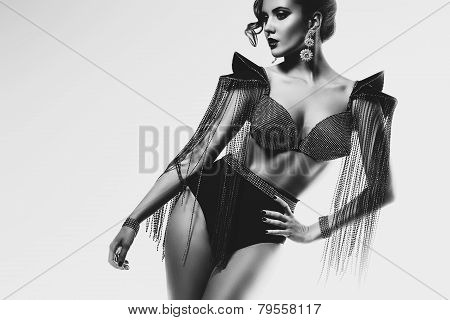 Monochrome Woman With Cone Bra With Rhinestones