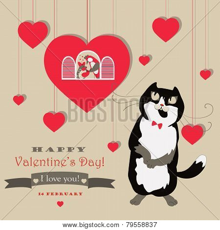 Cute pair of birds and cat celebrating Valentine's Day