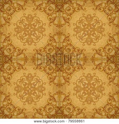 Gold Ornament  Flower Vintage Patten In Old Paper Background