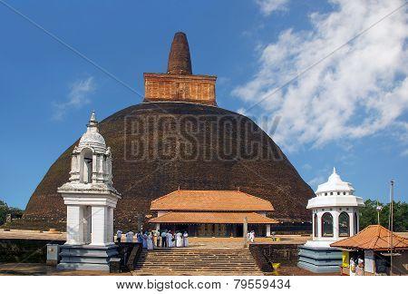 Big brick stupa Abhayagiri Dagoba in Anuradhapura, Sri Lanka