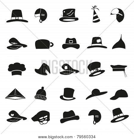 Various Black Hats Icons Vector Set Eps10
