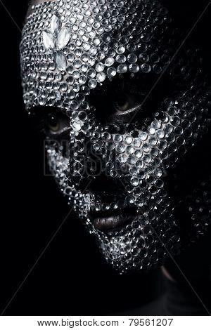 Bizarre Creative Woman In Silver Rhinestones