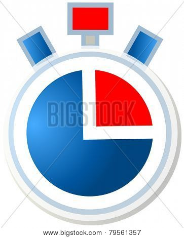 Vector blue and red stopwatch icon
