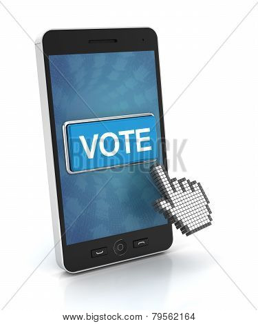 Clicking The Vote Button On A Smartphone, 3D Render