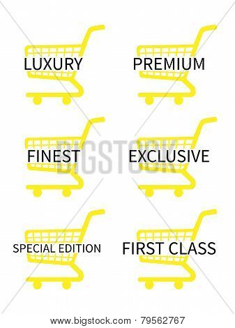 Yellow Shopping Cart Icons With Luxury Articles Texts