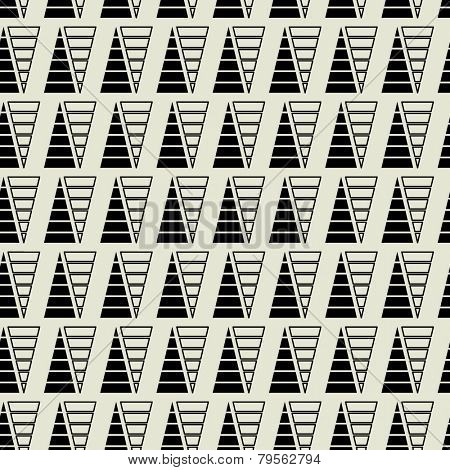 art black graphic geometric seamless pattern, square background with ornament in art deco style