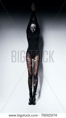 High Woman In Skull Make-up And Pantyhose