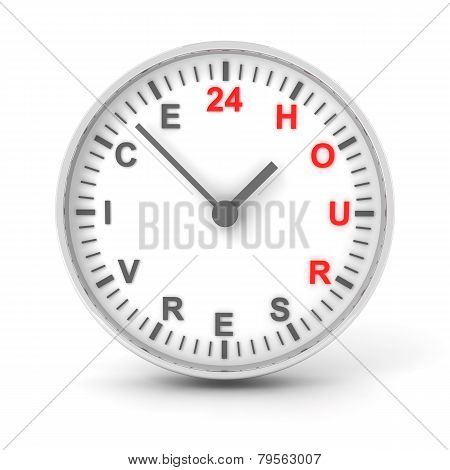 Clock With 24 Hour Service Text, 3D Render
