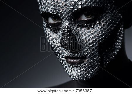 Sexy Woman With Skull Face Of Rhinestones