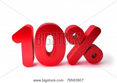 10% 3D Render Red Word Isolated in White Background