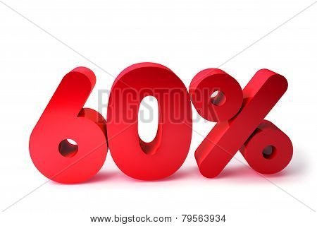 60% 3D Render Red Word Isolated in White Background